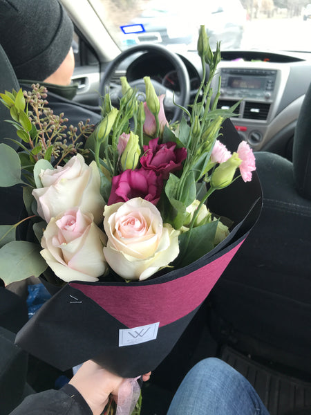 Wildroot bouquet in car