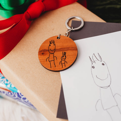 Keychain, Your child's art engraved onto a wooden keychain