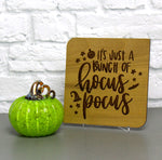 Engraved wood Halloween card with personal message 'It's just a bunch of hocus pocus' - Halloween Decor - Halloween/Fall/Pumpkin Theme Cards