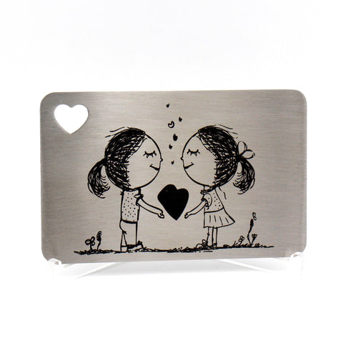 Engraved Stainless Steel wallet insert engraved with your own personal message / Unique gift for gay loved one / Lesbian girlfriend gift