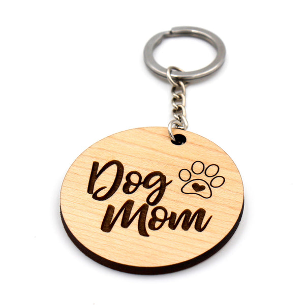 Wooden keychain / Dog Mom keyring / Gift for her / Gift for Dog Mom / Gift for pet owner / Dog lover gift / Mother's day gift for dog owner