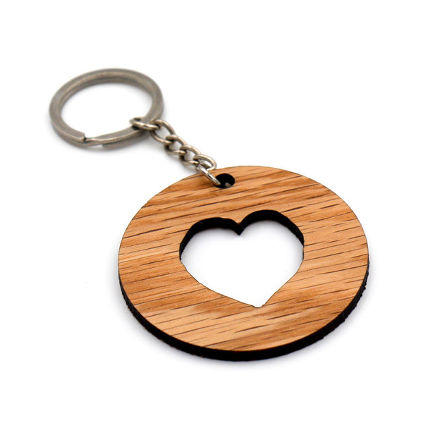 Wooden keychain with cut out heart / Wooden heart keyring / Gift for her / Gift for Mom / Gift for wife / BFF Gift / Quality hardwoods