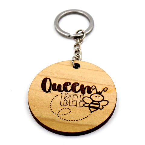 Wooden keychain / Wooden keyring / Gift for her / Gift for Mom / Gift for wife / Queen Bee / Made from quality hardwoods