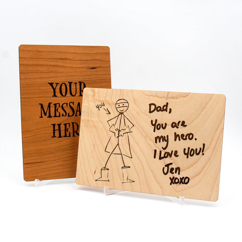 Your handwritten note engraved onto a wooden card / Personal message engraved / Kids artwork laser engraved / Includes display stand
