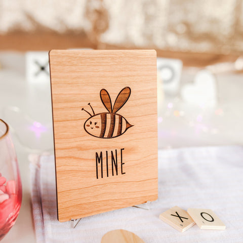 Valentines Day Card for Boyfriend, Valentines Card, Wood Cards, Bee,