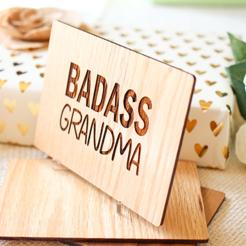 Mothers Day Card, Wood Greeting Card, Grandma Gift,