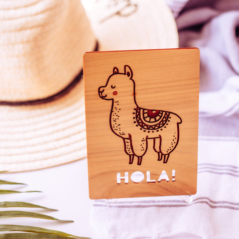 Hola card / Llama card / Send a unique note on any occasion / Pen Pal card / Wooden card with personal message (optional) / Easel included