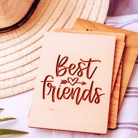 Friendship Card, Best Friend Gift, Wood Greeting Card,