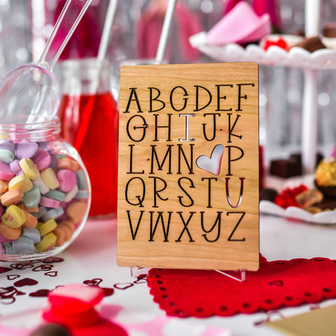 Engraved Wood I Love You / Anniversary Card / Valentine's Day Card / Love Card / Includes Envelope & stand