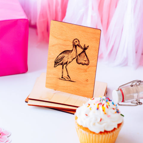 Stork Baby Card, Baby Shower Card, Gifts for Mom to Be, Personalized Gift,