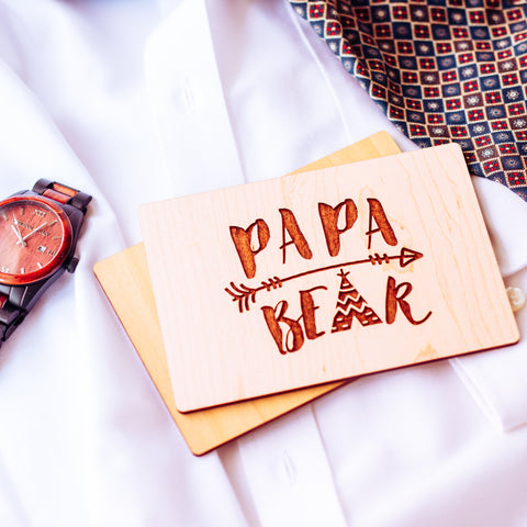 Papa Bear, Fathers Day Gift from Kids, Fathers Day Card, Wooden Card,