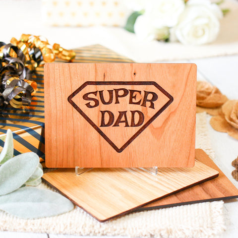 Superdad, Fathers Day Gift from Son, Fathers Day Card, Wood Card,