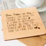 Father in Law Fathers Day Gift, Personalized Gift, Wood Card,