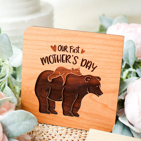 First Mothers Day Card, 1st Mothers Day Gift, Wood Greeting Card, New Mom Gift,