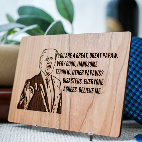 Papaw, Fathers Day Gift, Funny Fathers Day Card, Wood Greeting Card,