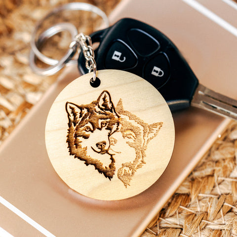Picture Engraved Keychain, Husky Gifts, Dog Walker Gift, White Elephant Gift,