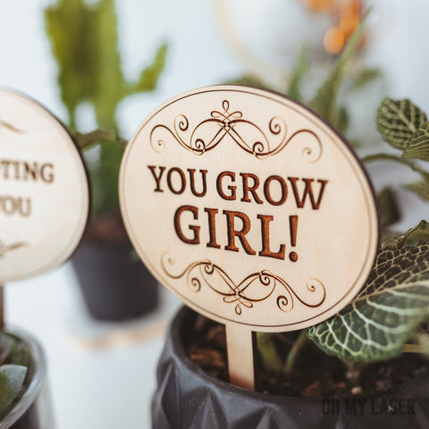 Plant Markers, Encouragement Gift, Motivational Cards, You Grow Girl, Plant labels,