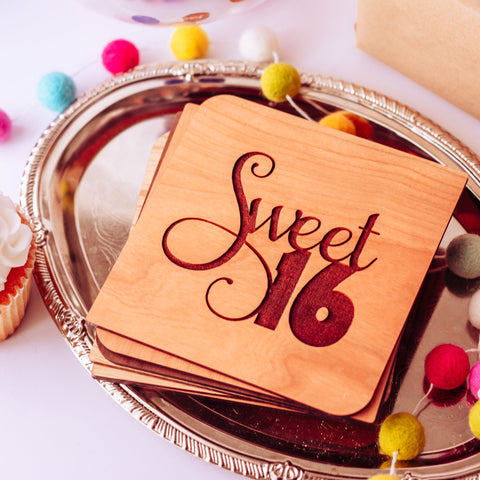 Sweet 16 Card, 16th Birthday Gift Girl, Sweet Sixteen Gifts, Personalized Card, Wooden Greeting Card,
