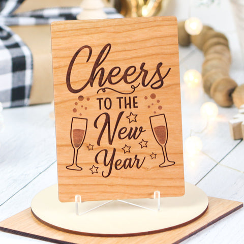 New Years Cards, Happy New Year Card, Happy New Year Gift, Wooden Card,