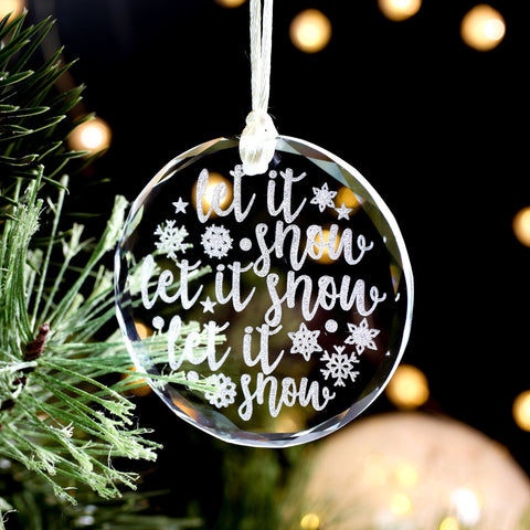 Let it Snow Decor, Glass Christmas Ornaments, Let it Snow, Christmas Tree Ornaments, Xmas Ornaments,
