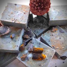 Load image into Gallery viewer, ACTIVATED CHARCOAL Soap Bars with Turmeric & Coconut Oil with cone