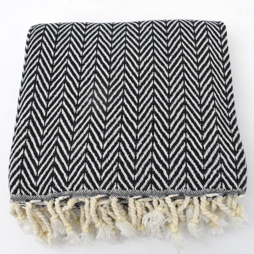 CHEVRON Turkish Towel in black with natural colour fringes