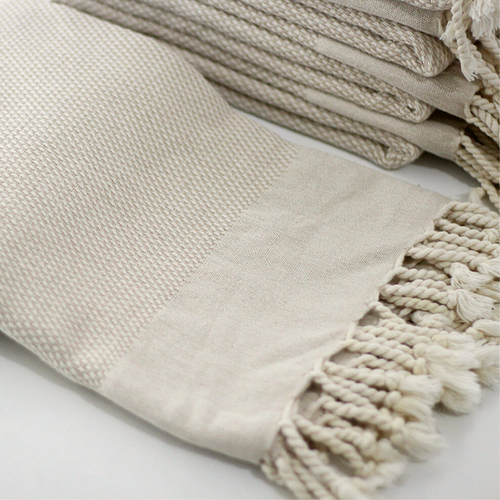 DENIZLI Double -Sided Bath Towel in beige with natural colour fringes