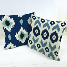 Load image into Gallery viewer, FUN KILIM Throw Pillow two in blue