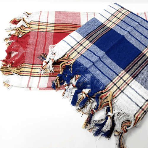 Red & blue HAMMAM Plaid Turkish Towels