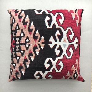 Kilim design throw pillow in red, brown, black colours