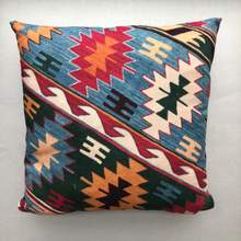 Load image into Gallery viewer, Kilim design throw pillow in vibrant colours