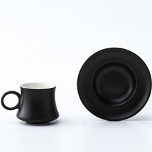 Load image into Gallery viewer, Black Turkish coffee demitasse cup and its matching saucer