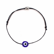Load image into Gallery viewer, Black NAZAR Turkish Lucky Evil Eye Cord Bracelet