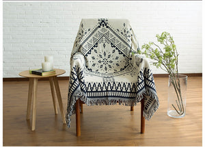 Navy white kilim thrown on chair