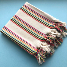 Load image into Gallery viewer, RAINBOW Turkish Towel folded