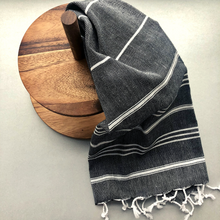 Load image into Gallery viewer, Black STRIPY Turkish Kitchen Towel