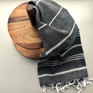 Black STRIPY Turkish Kitchen Towel