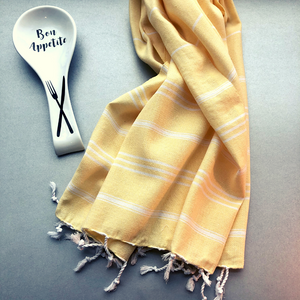 STRIPY Turkish Kitchen Towels in pale orange