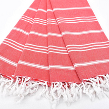 Load image into Gallery viewer, Folded red STRIPY Turkish Kitchen Towels