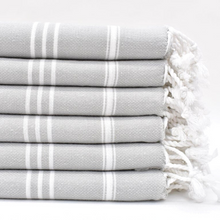 Load image into Gallery viewer, STRIPY Turkish Kitchen Towels in light grey