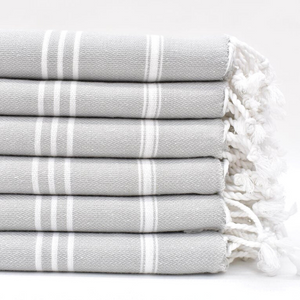 STRIPY Turkish Kitchen Towels in light grey
