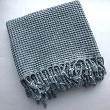 Load image into Gallery viewer, Grey WAFFLE Turkish Towel folded