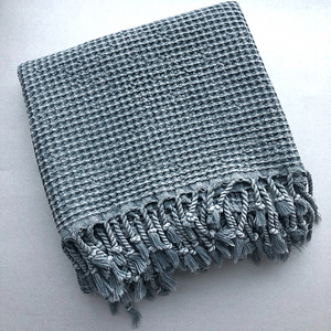 Grey WAFFLE Turkish Towel folded