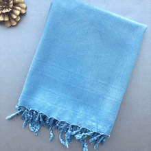 Load image into Gallery viewer, Folded ZEPHYR SHAWL Turkish Towel in cobalt blue