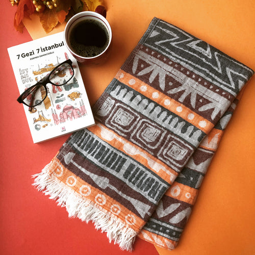 BOHO Turkish Towel with coffee and book