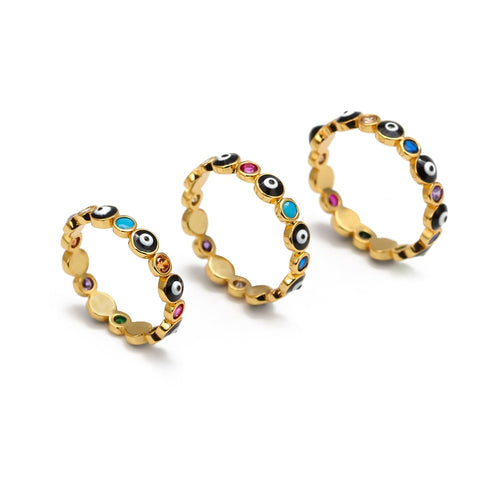 NAZAR RAINBOW Evil Eye Rings in three