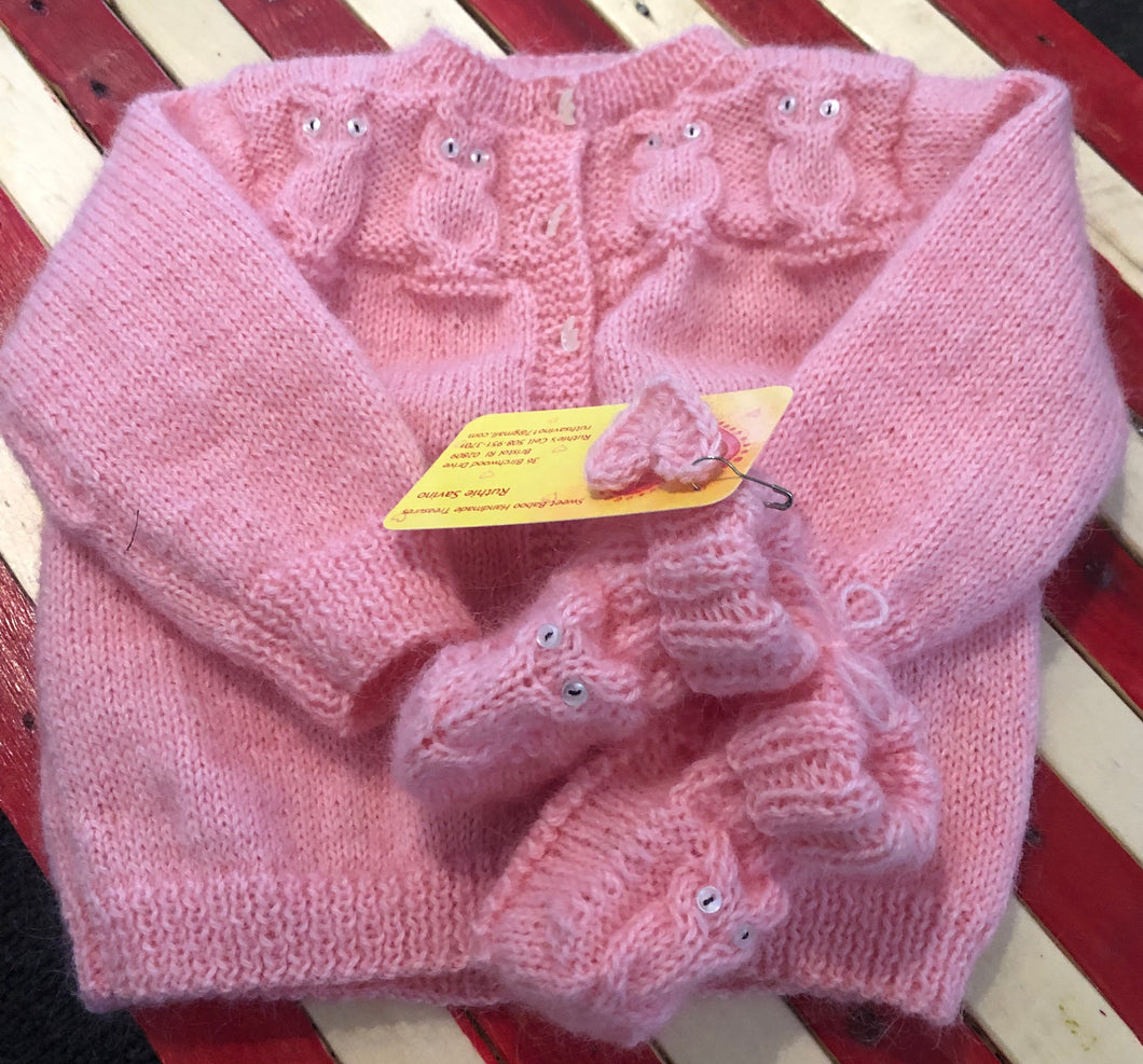 Hand knit Baby Sweater & Booties