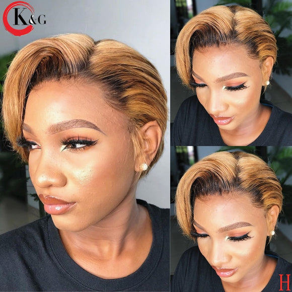 KUNGANG Pixie Cut Wig 13*4 Bob Lace Front Human Hair Wigs