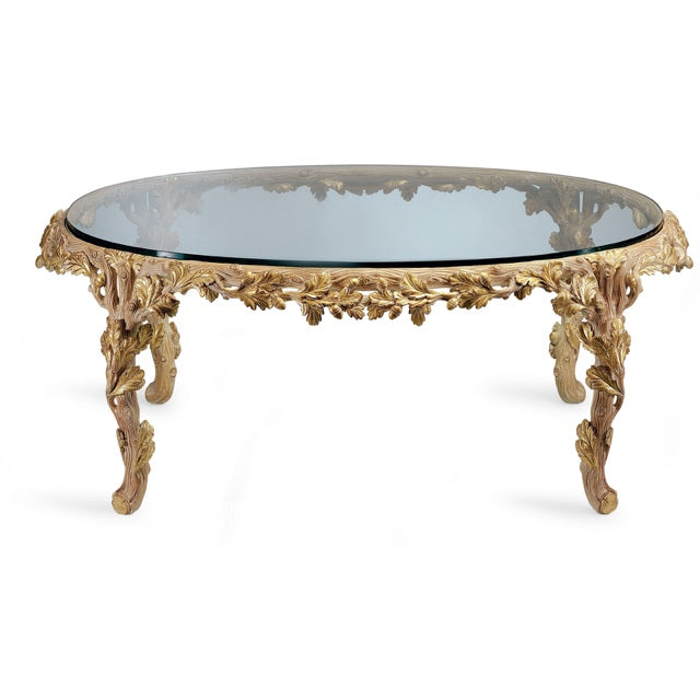 Oval Coffee Table with Oak Leaves