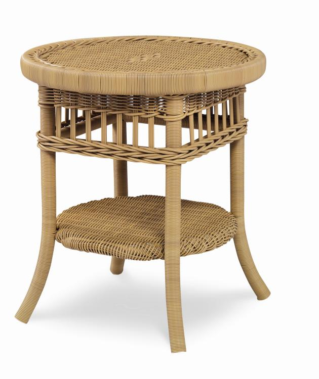 Mainland Wicker Side Table with Tempered Glass